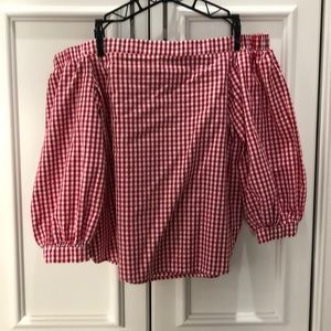 Soprano Red/White checked off the shoulder shirt M